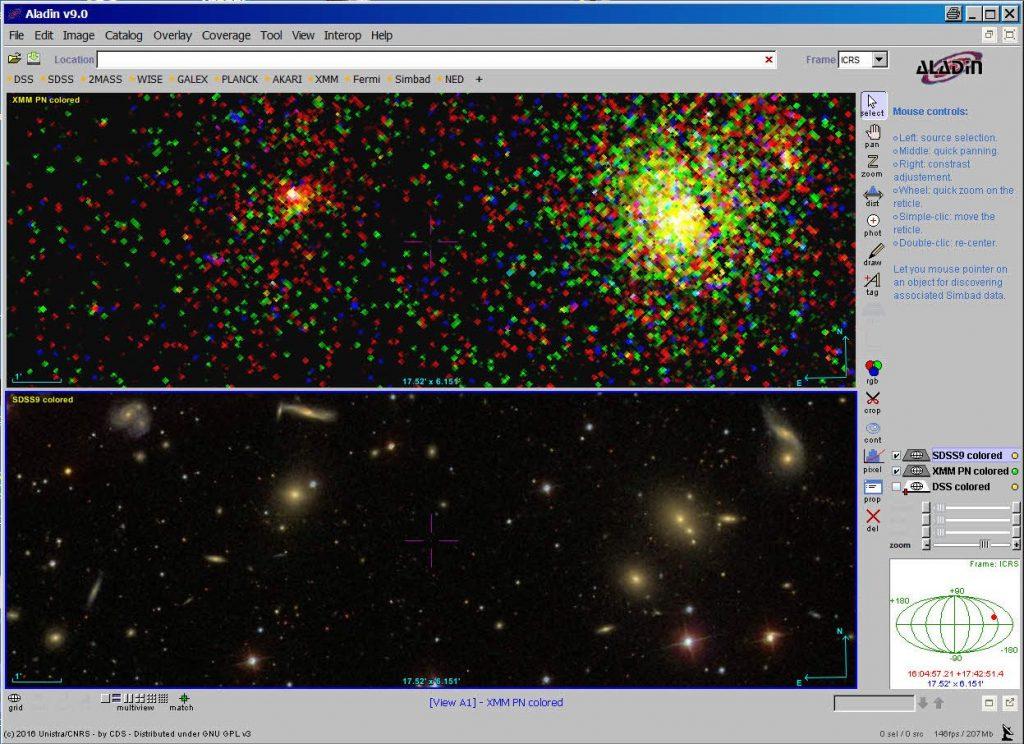 Auschnitt aus dem Herkules Galaxienhaufen. Oben im Röntgen-, unten im optischen Bereich.