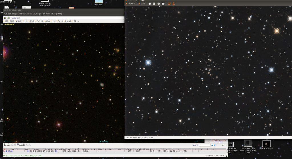 Abell 2584. Rechts meine Aufnahme, links SDSS-Aufnahme in Aladin. Position des Quasars gekennzeichnet. Daten zu diesem Objekt in der Zeile unterhalb des Bildfensters. Rotverschiebung z=1.253